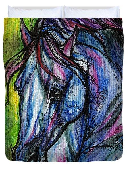 The Blue Horse On Green Background Duvet Cover by Angel  Tarantella