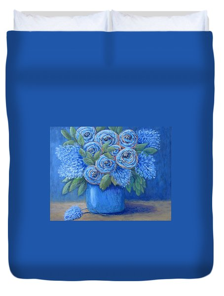 Duvet Cover featuring the painting The Blues by Suzanne Theis