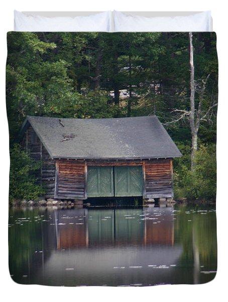 The Boat House On Mt Chocorua Lake Duvet Cover by Denyse Duhaime