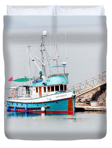 Duvet Cover featuring the photograph The Boat by Jim Thompson