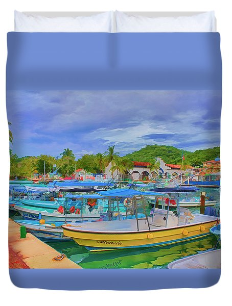 The Boats Of Hautulco Duvet Cover