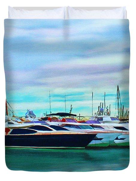 The Boats Of Malaga Spain Duvet Cover