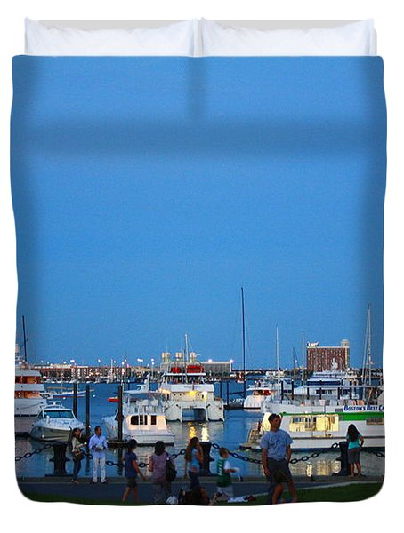 The Boston Wharf In The Early Evening Duvet Cover by Dora Sofia Caputo Photographic Art and Design