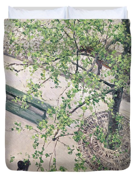 The Boulevard Viewed From Above Duvet Cover by Gustave Caillebotte