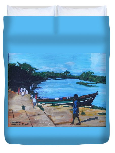 Duvet Cover featuring the painting The Boy Porter  Sierra Leone by Mudiama Kammoh