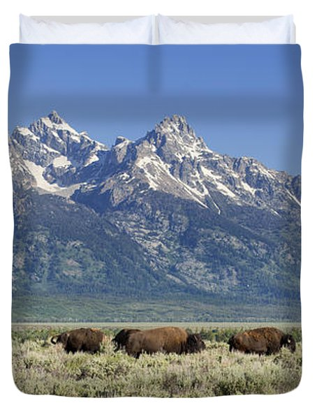 The Boys Club Of Grand Teton Duvet Cover by Sandra Bronstein