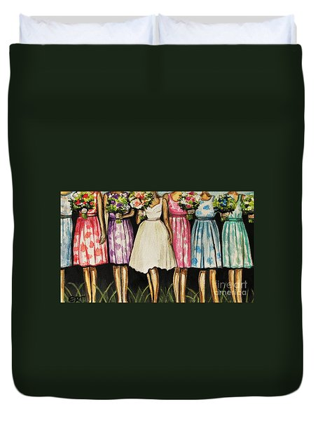 The Bride And Her Bridesmaids Duvet Cover