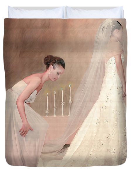 The Bride And Her Maid Of Honor Duvet Cover by Angela A Stanton
