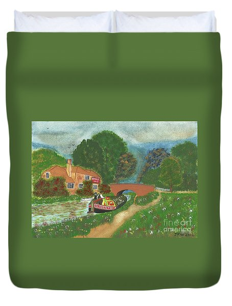 Duvet Cover featuring the painting The Bridge Inn by John Williams