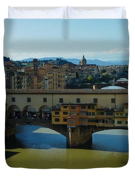 The Bridges Of Florence Italy Duvet Cover by Georgia Mizuleva