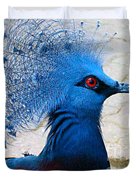 Duvet Cover featuring the photograph The Bright Blue Bird by Nina Silver