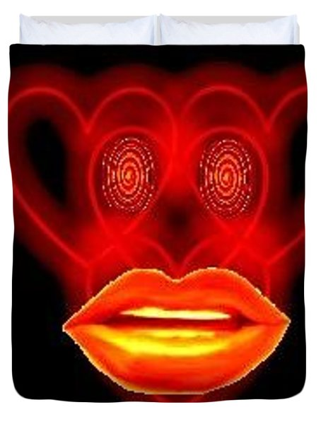 Duvet Cover featuring the digital art The Broadcast Monkey Hearts by Catherine Lott