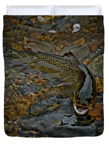 The Brown Trout Duvet Cover by Ernie Echols