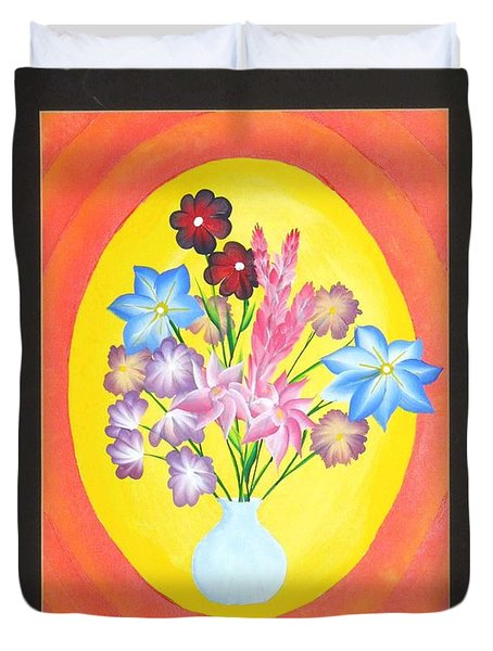 Duvet Cover featuring the painting The Bud Vase by Ron Davidson