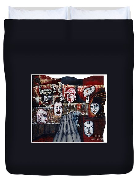 Duvet Cover featuring the painting The Buddhism Conception And The Human World by Fei A