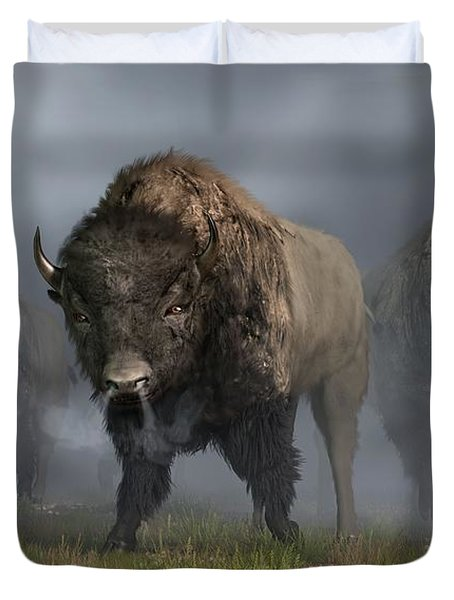 Duvet Cover featuring the digital art The Buffalo Vanguard by Daniel Eskridge