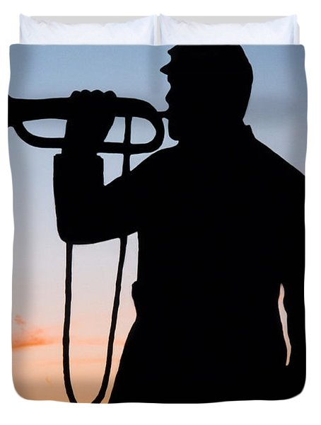 Duvet Cover featuring the painting The Bugler by Karen Lee Ensley