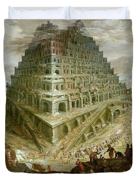 The Building Of The Tower Of Babel Duvet Cover by Marten van Valckenborch