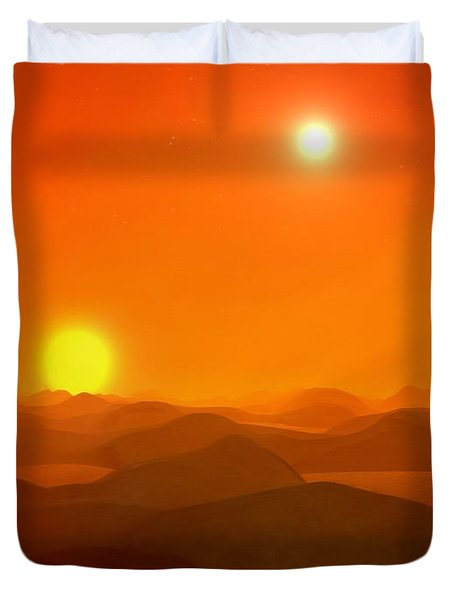 Duvet Cover featuring the painting The Burning Lands by Pet Serrano