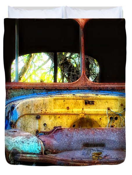 Duvet Cover featuring the photograph The Bus Stops Here by Erika Weber