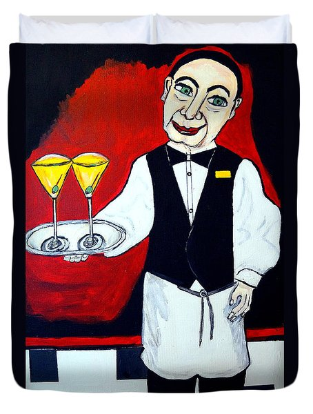 Duvet Cover featuring the painting The Butler  by Nora Shepley