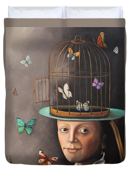 The Butterfly Keeper Edit 2 Duvet Cover by Leah Saulnier The Painting Maniac