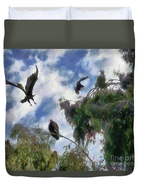 Duvet Cover featuring the digital art The Buzzard Tree by Rhonda Strickland