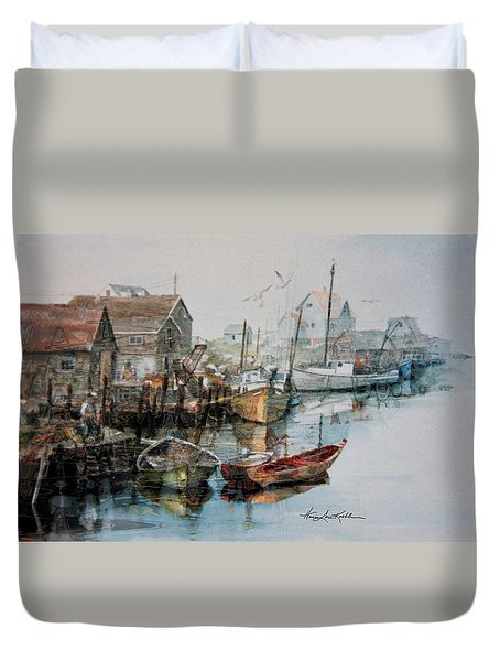The B'y That Catches The Fish Duvet Cover by Hanne Lore Koehler