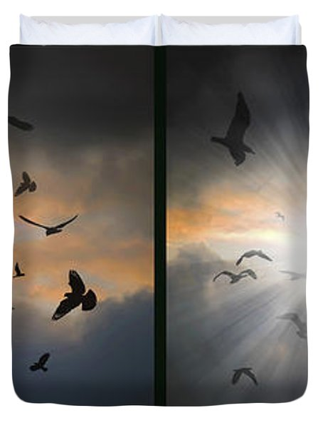 The Call - The Caw - Gently Cross Your Eyes And Focus On The Middle Image Duvet Cover