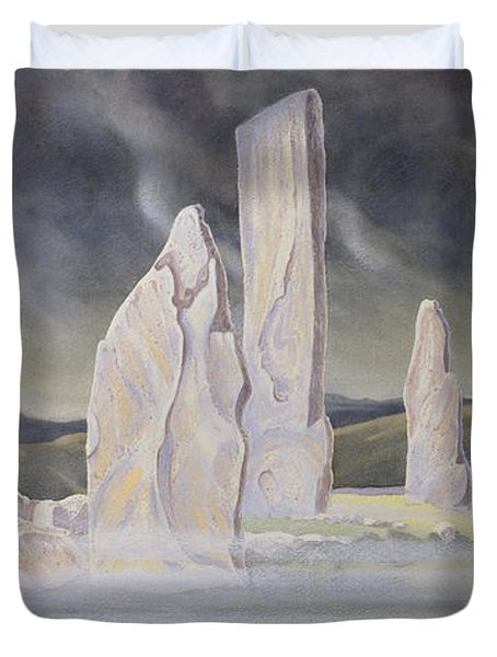 The Callanish Legend Isle Of Lewis Duvet Cover by Evangeline Dickson