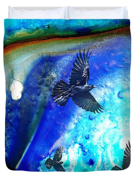 The Calling - Raven Crow Art By Sharon Cummings Duvet Cover by Sharon Cummings