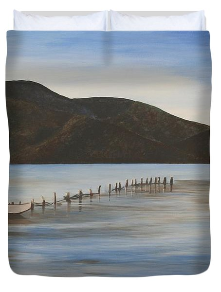 Duvet Cover featuring the painting The Calm Water Of Akyaka by Tracey Harrington-Simpson