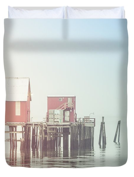 The Cannery In Fog Duvet Cover