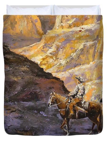 Duvet Cover featuring the painting The Canyon by Alan Lakin