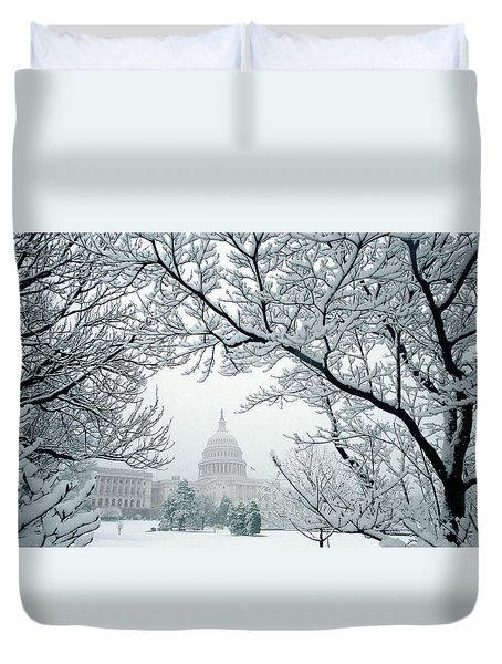 The Capitol In Snow Duvet Cover by Joe  Connors