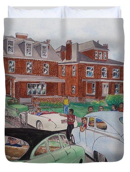 The Car Movers Of Phi Sigma Kappa Osu 43 E. 15th Ave Duvet Cover