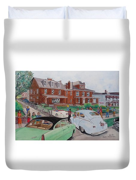The Car Movers Of Phi Sigma Kappa Osu 43 E. 15th Ave Duvet Cover by Frank Hunter