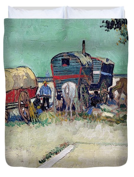 The Caravans   Gypsy Encampment Near Arles Duvet Cover by Vincent Van Gogh