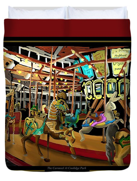 Duvet Cover featuring the painting The Carousel At Coolidge Park - Chattanooga Landmark Series - #6 by Steven Lebron Langston