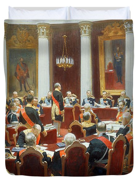 The Ceremonial Sitting Of The State Council 7th May 1901 Duvet Cover by Ilya Efimovich Repin