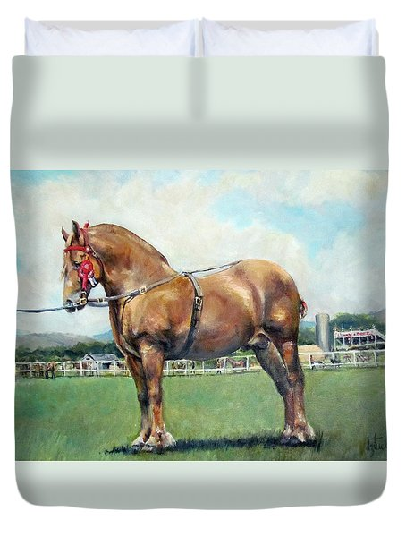 Duvet Cover featuring the painting The Champ by Donna Tucker