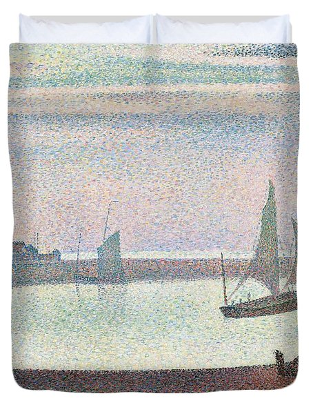 The Channel At Gravelines In The Evening Duvet Cover by Georges Seurat