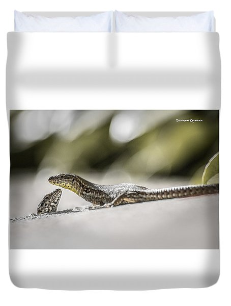 Duvet Cover featuring the photograph The Charming Lizards by Stwayne Keubrick