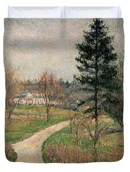 The Chateau At Busagny Duvet Cover by Camille Pissarro