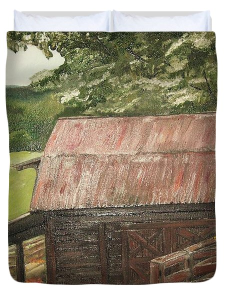 Duvet Cover featuring the painting The Cherrys Barn by Jan Dappen