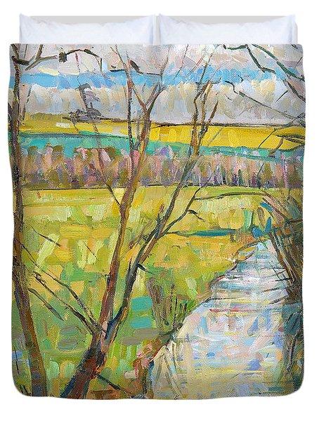 The Cherwell From Rousham II Oil On Canvas Duvet Cover