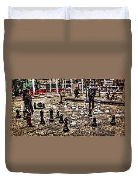 The Chess Match In Pdx Duvet Cover by Thom Zehrfeld