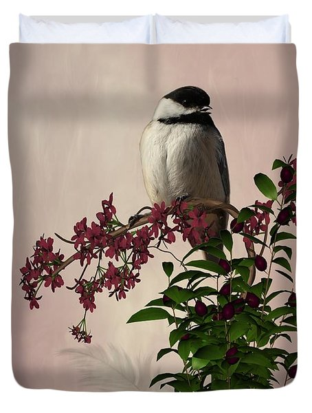 The Chickadee Duvet Cover by Davandra Cribbie