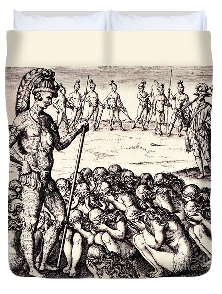 Duvet Cover featuring the drawing The Chieffe Applyed To By Women by Peter Gumaer Ogden
