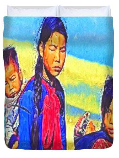 Duvet Cover featuring the digital art The Children by Cathy Anderson